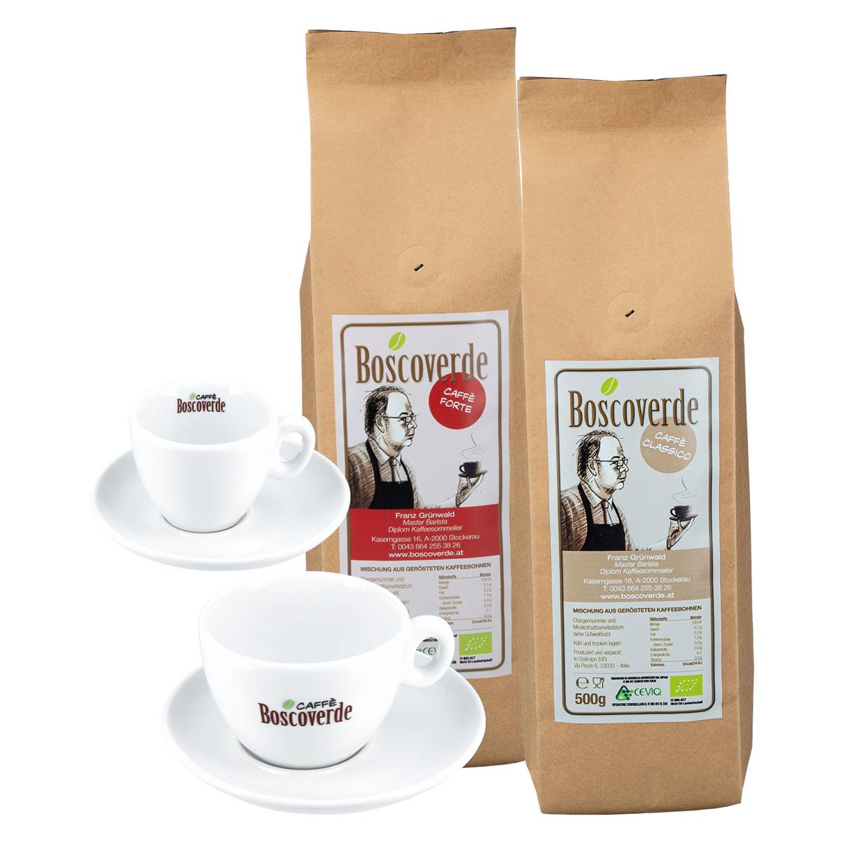 Dolce Vita Set: Bio-Caffè Boscoverde Classico & Forte à 500 g ganze Bohne + Cappuccinotasse + Espressotasse