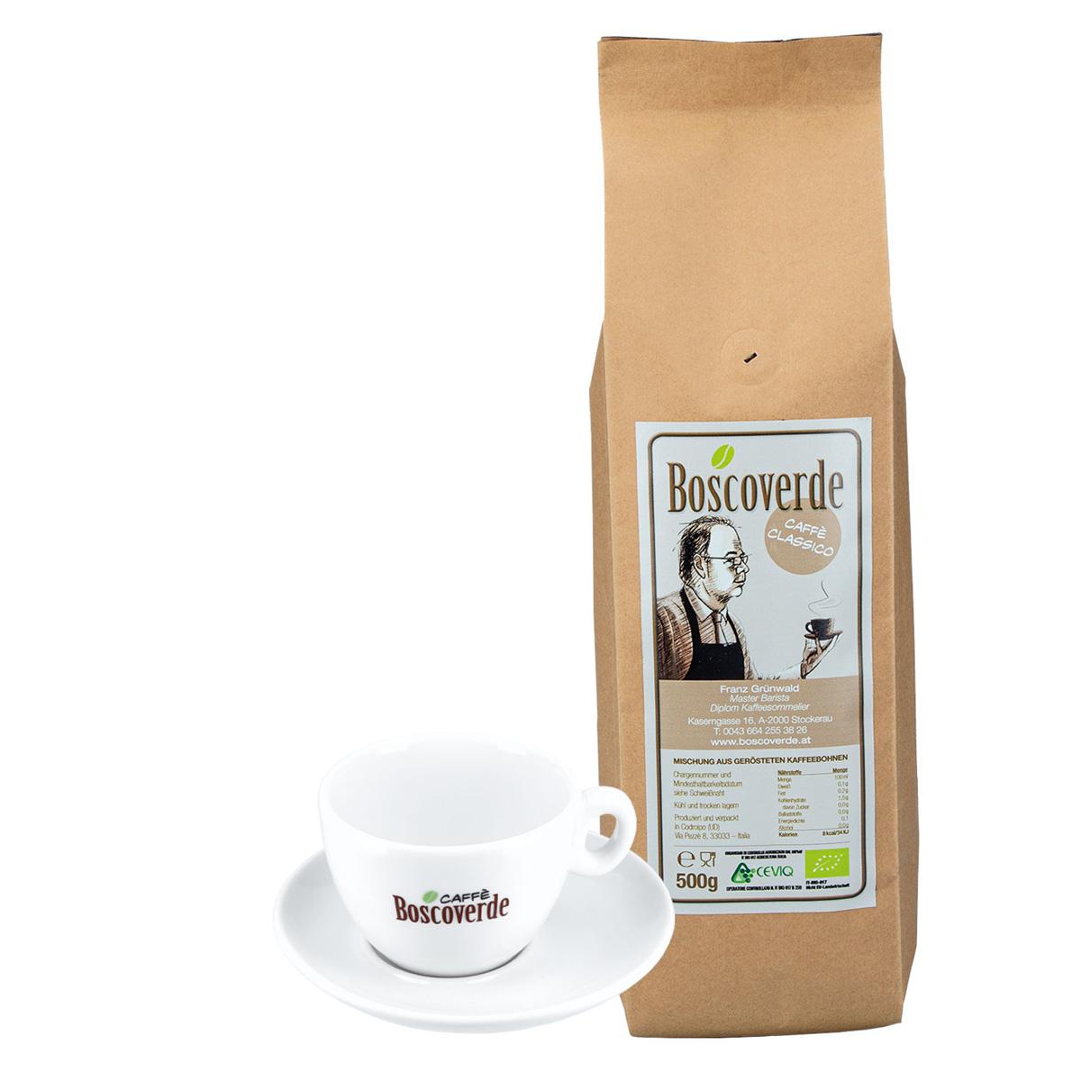 Cappuccino-Set: Bio-Caffè Boscoverde Classico 500 g ganze Bohne + Cappuccinotasse
