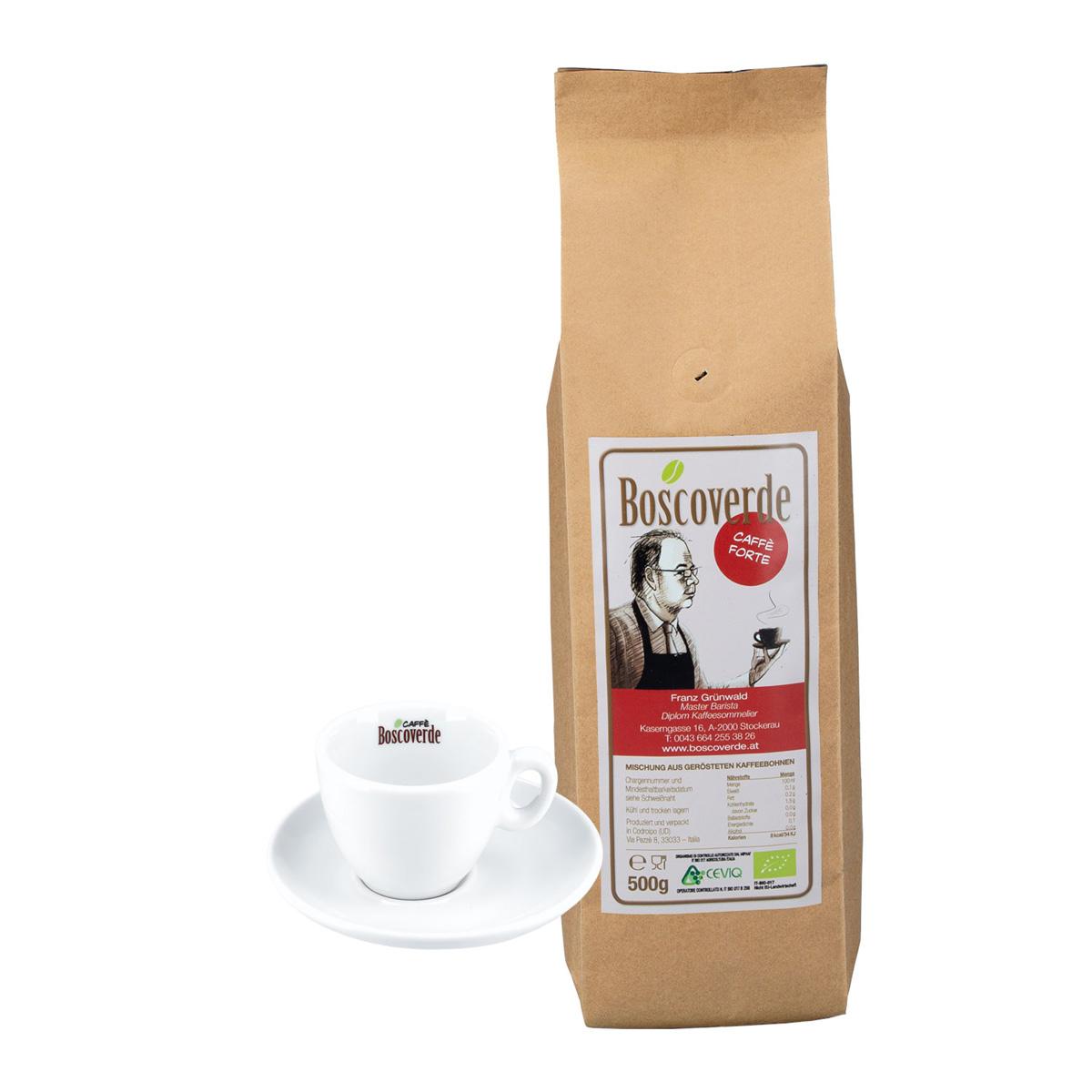 Espresso-Set: Bio-Caffè Boscoverde Forte 500 g ganze Bohne + Espressotasse